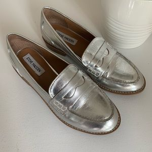 Steve Madden Silver Penny Loafers